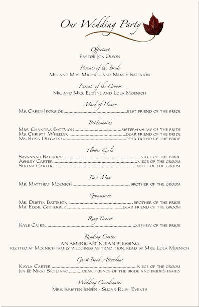 Wedding Ceremony Programs Wording Examples Programs
