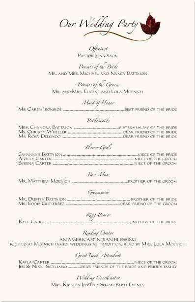 Wedding Ceremony Programs Wording Examples