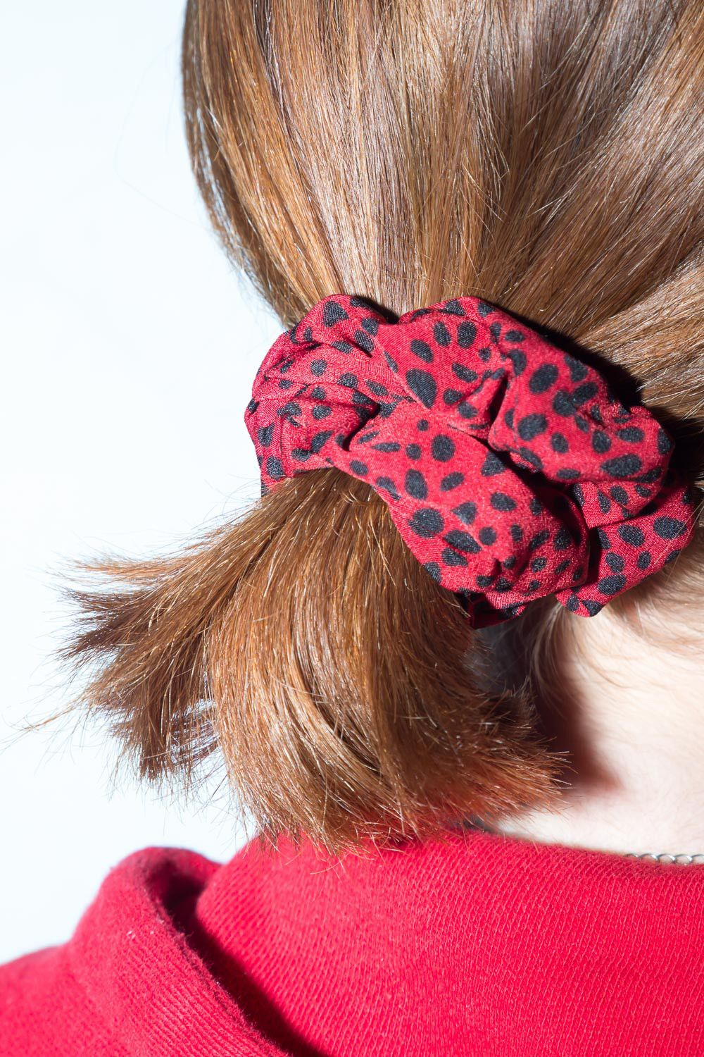 Red and Black Polka Dot Scrunchie Hair Accessories