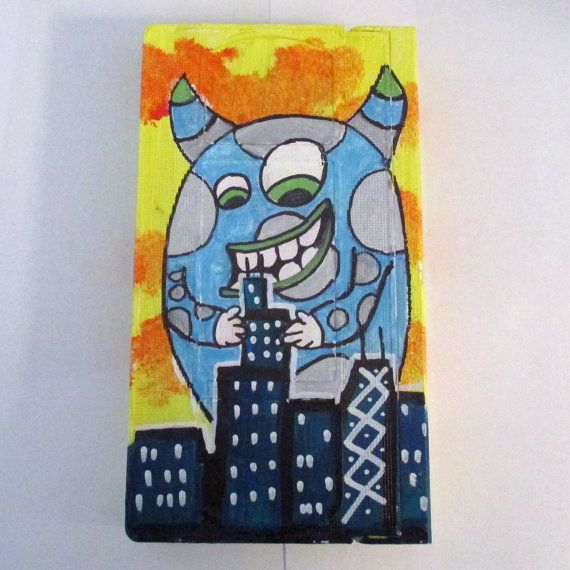 Vhs Tape Art Monster Looking Over Chicago Skyline Painting Acrylic Tape Art Monster Wall Art Upcycled Art