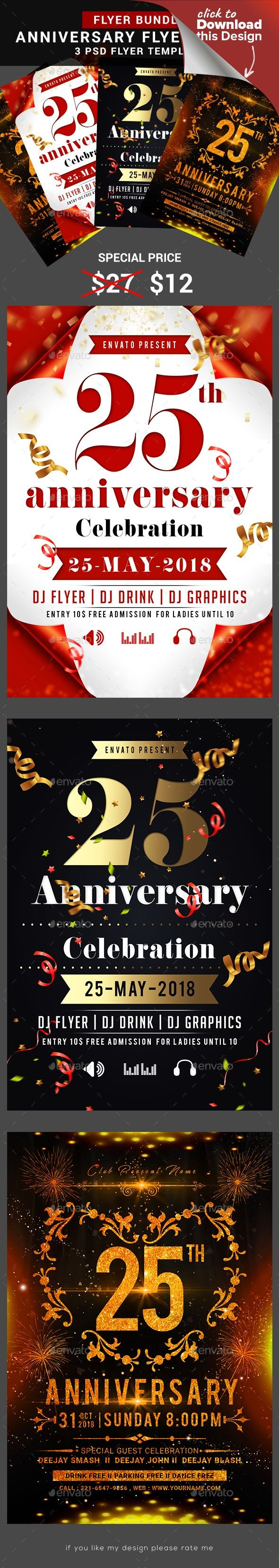 Anniversary Flyer Bundle Birthday flyer, Flyer, Flyer