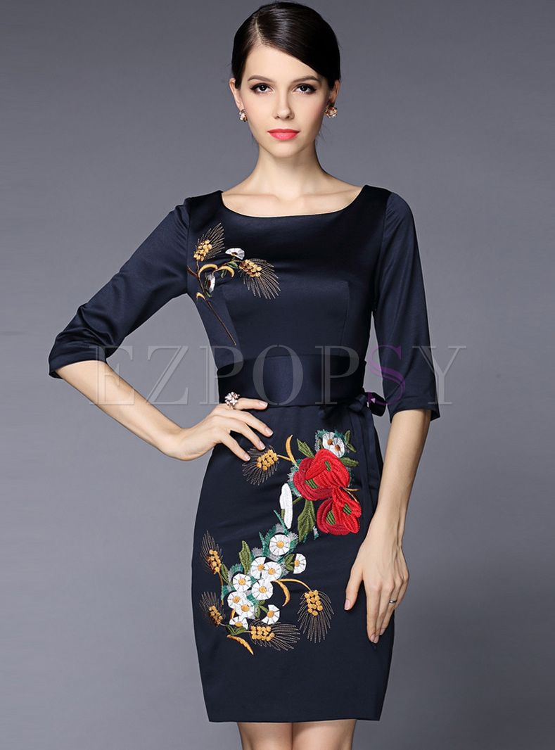 Vintage Flower Embroidery Slim Bodycon Dress Fashion Dresses Casual Half Sleeve Dresses Women Cheap Dresses [ 1066 x 789 Pixel ]