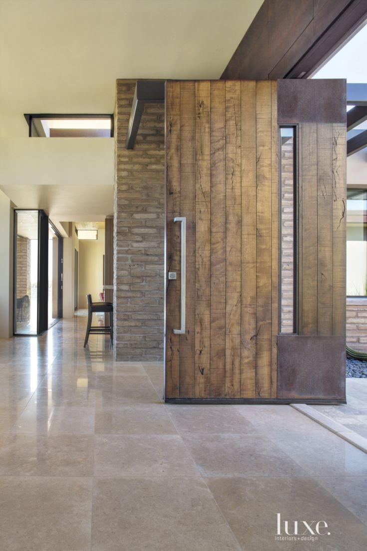 Contemporary Neutral Entry With Mud Brick Walls Contemporary Front Doors Door Design Entry Door Hardware