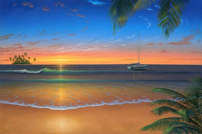 Sunset beach wall mural wallpaper mural ideas 13499 for Beach sunset mural