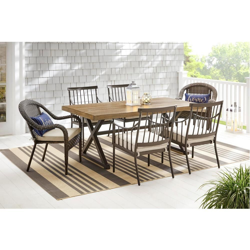 Hampton Bay Mix And Match 72 In Rectangular Metal Outdoor Dining Table With Farmhouse Trestle Base And Tile Tabletop 3038 Dt7 In 2020 Outdoor Dining Table Outdoor Dining Outdoor Furniture Sets