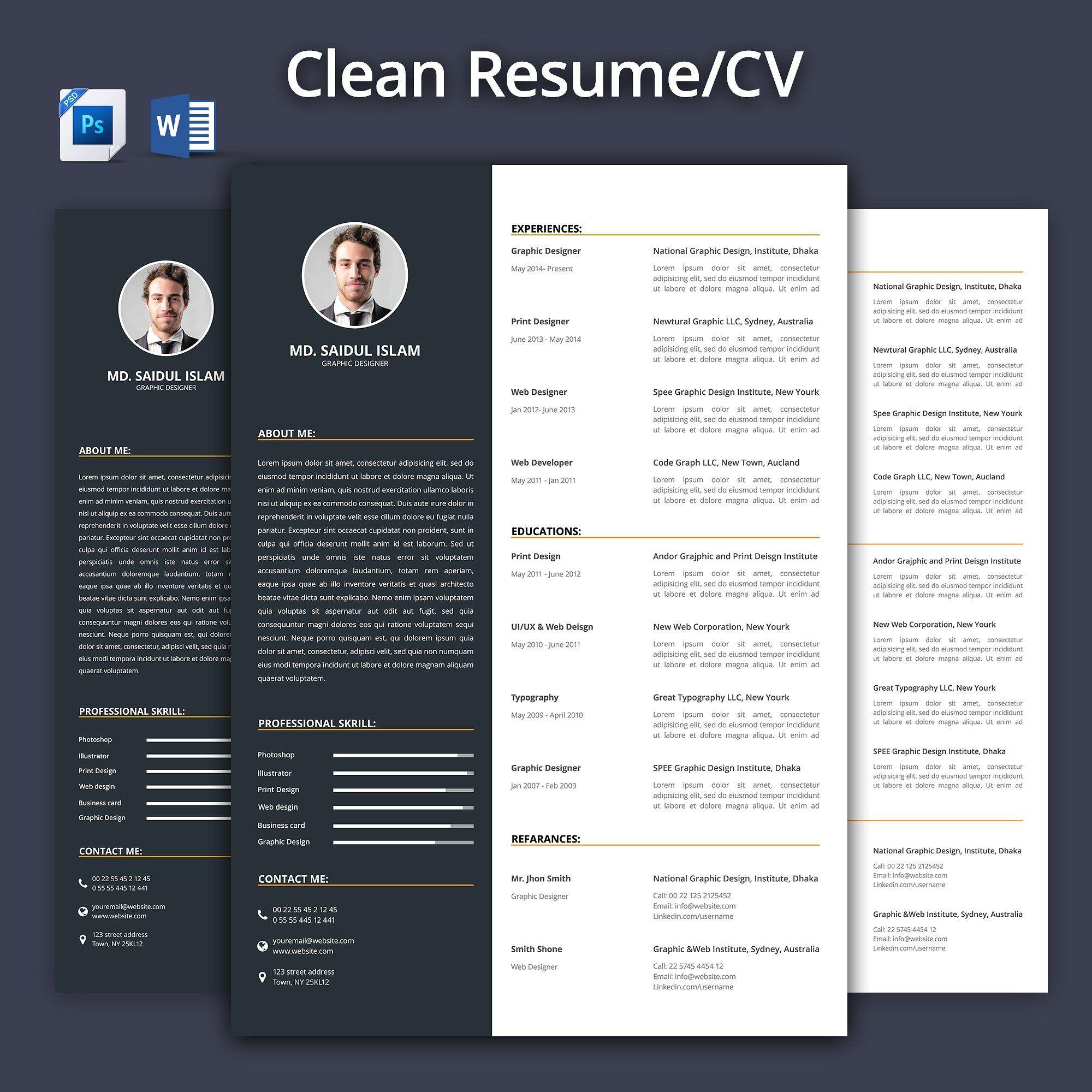 Clean Resume - CV 2017 | Resume cv and Cv template
