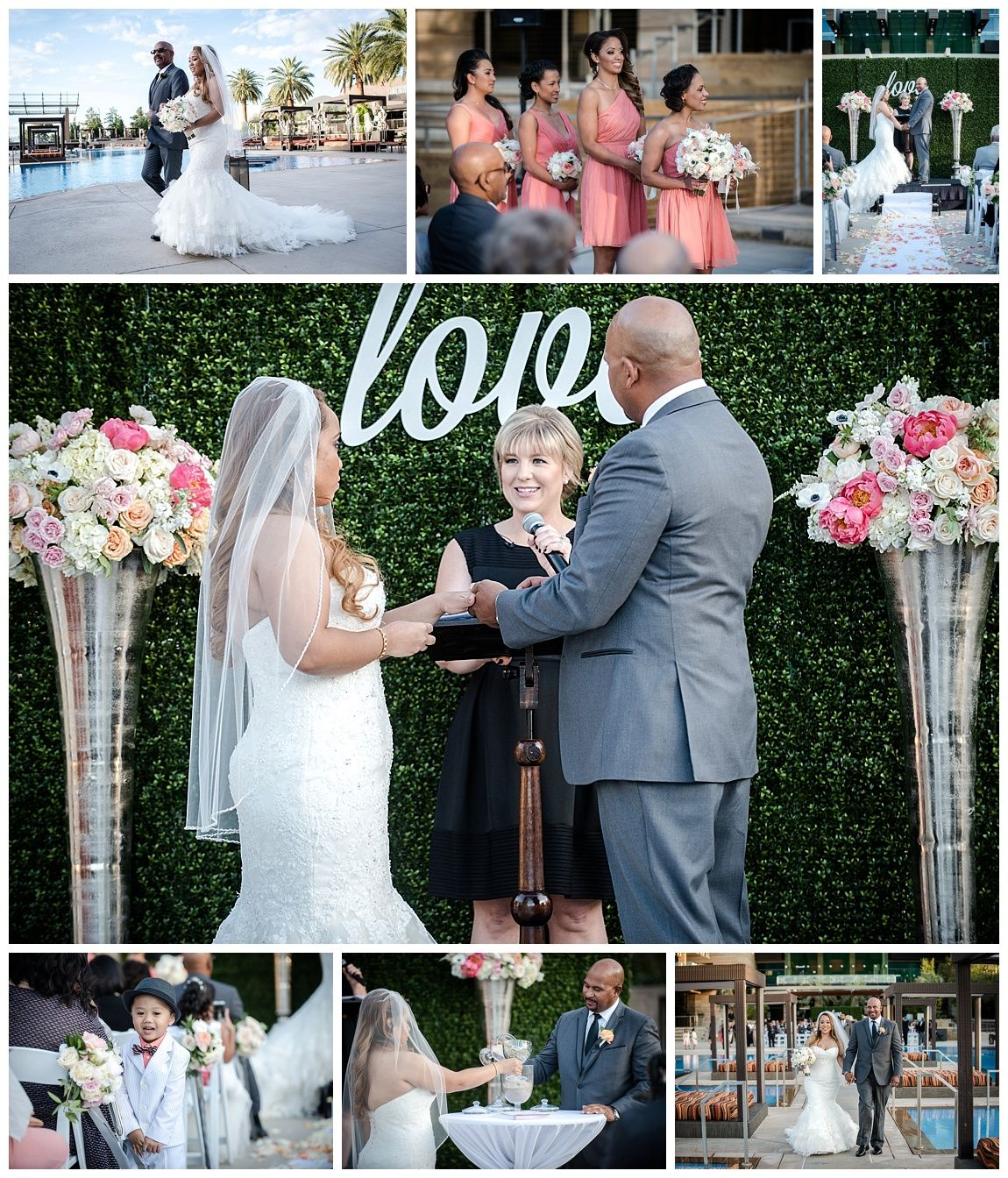 Las Vegas Wedding Planner, M Resort wedding, boxwood backdrop, coral and metallic wedding, coral bridesmaid dresses, sand ceremony