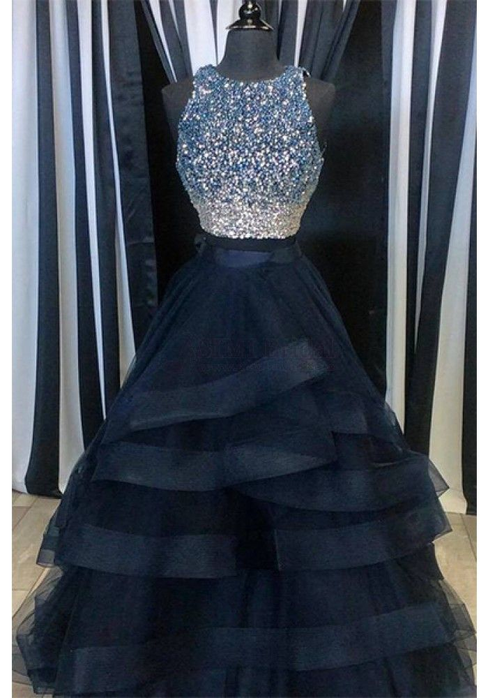 Luxurious Two-Piece A-Line Long Prom Dress with Beading 87bb01df19cd