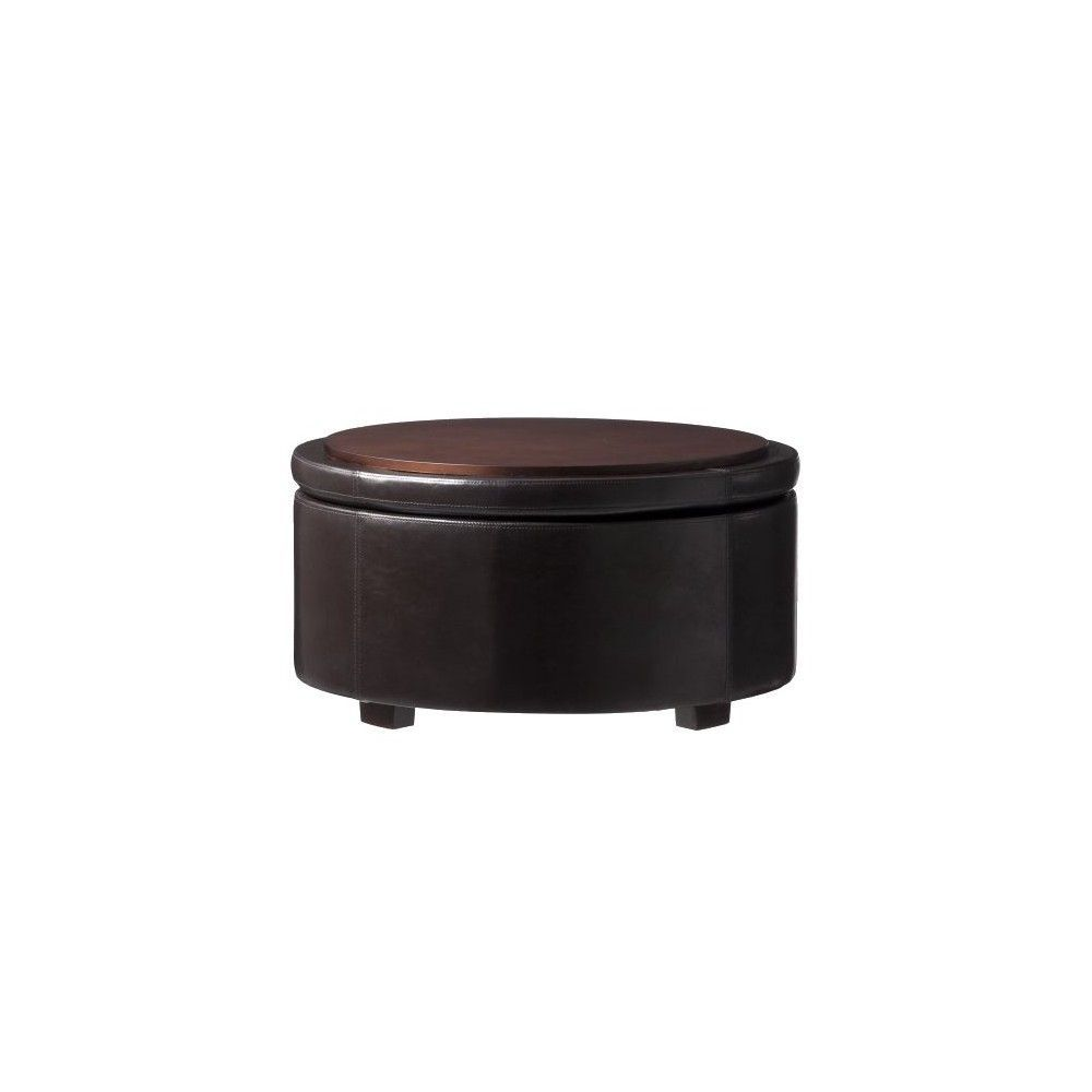 Super Nolan Bonded Leather Living Room Round Storage Cocktail Beatyapartments Chair Design Images Beatyapartmentscom