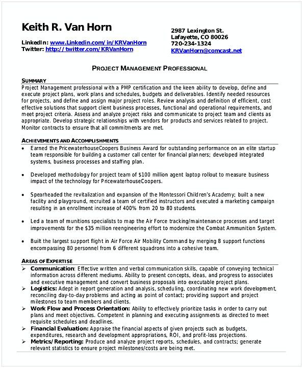 Professional entry level project Management Resume , Entry Level ...