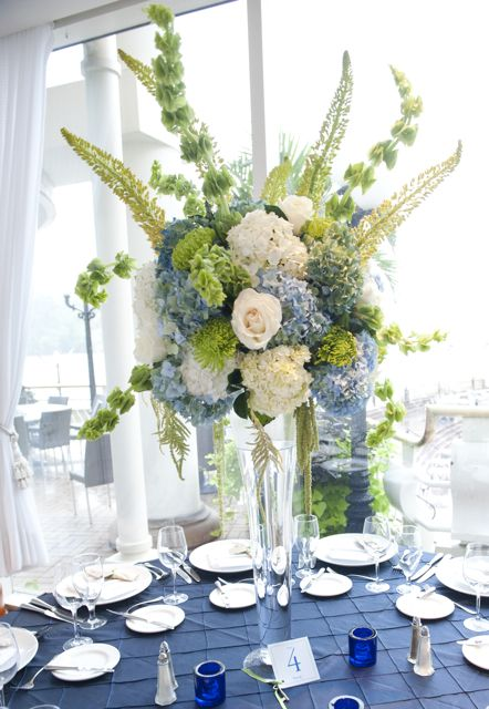 Holly Chapple The Full Bouquet Blog Blue Hydrangea Centerpieces Green Wedding Flowers Tall Flower Centerpieces