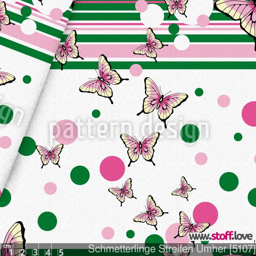 Harmonische Kombination aus Schmetterlingen, Streifen und Kugeln. I www.stoff.love