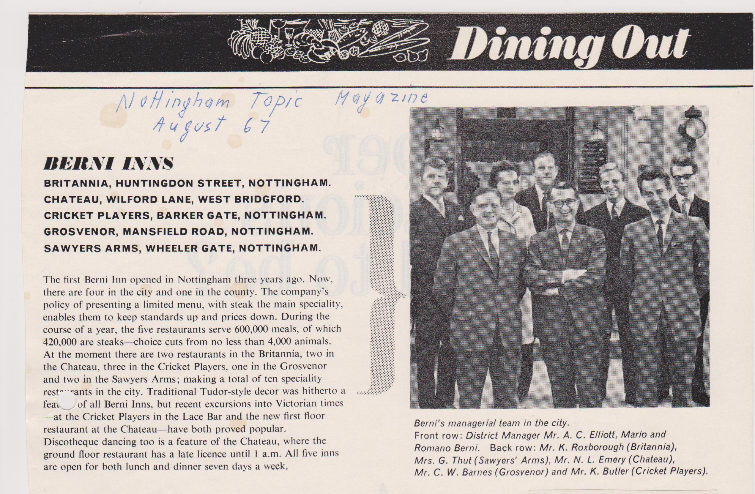 Berni Inn Newsletter Nottinghamshire Managers Nottinghamshire Huntingdon Inn