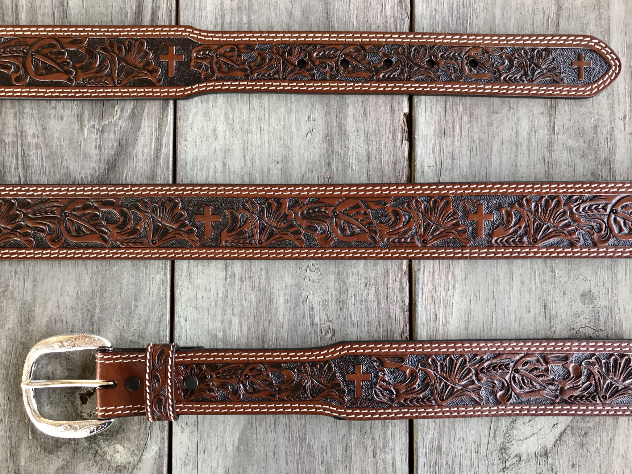 Men's Floral and Cross Hand Tooled Belt by Cowboy Chrome