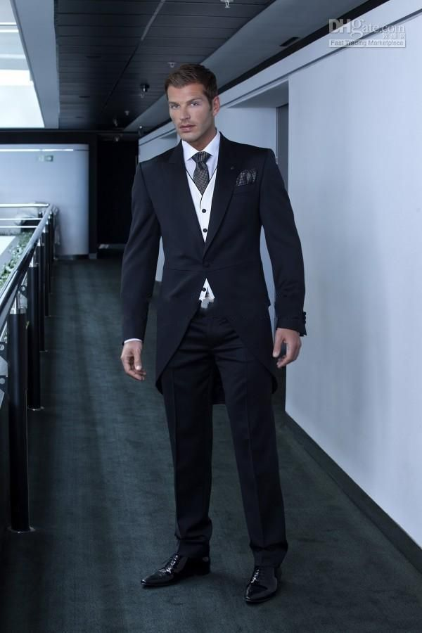 Custom made three pieces one button black wedding suits groom ...