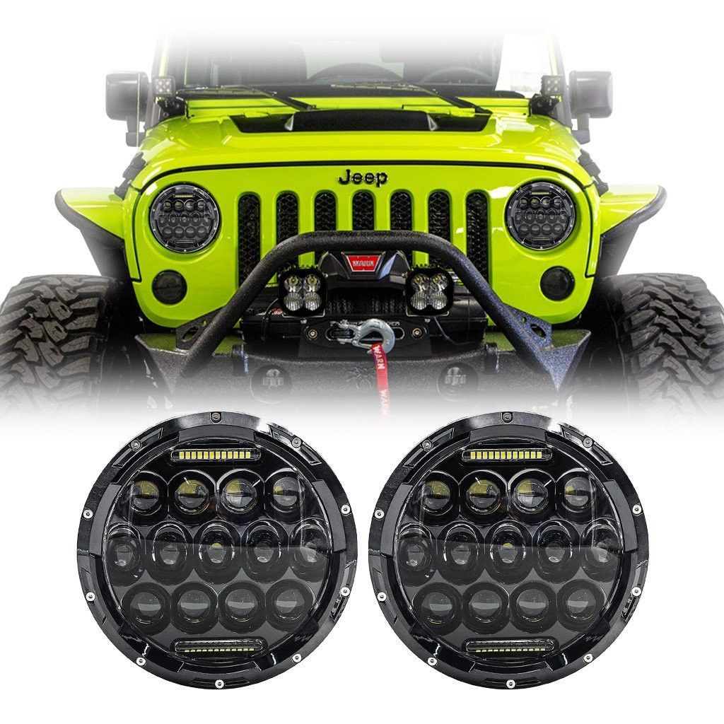 Our jeep wrangler bugeye led projector headlights are the best upgrades for your stock lights these fit directly on the wrangler jk tj lj cj