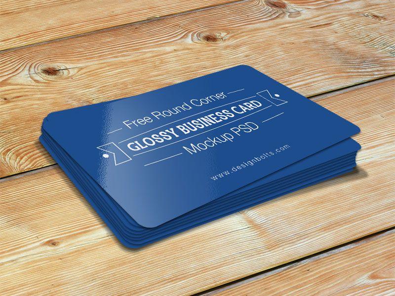 Free Round Corner Glossy Business Card Mockup Psd Business Card Mock Up Glossy Business Cards Business Cards Mockup Psd