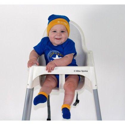 Converse Baby Mützchen / Booties / Bodysuit Blue Yellow