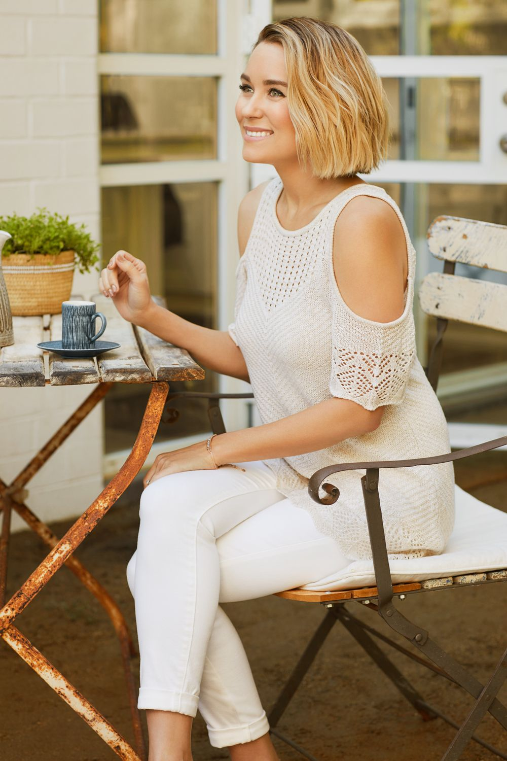 9bf8af1f92fd49 Lauren Conrad wearing an all-white outfit from the April LC Lauren Conrad  Collection