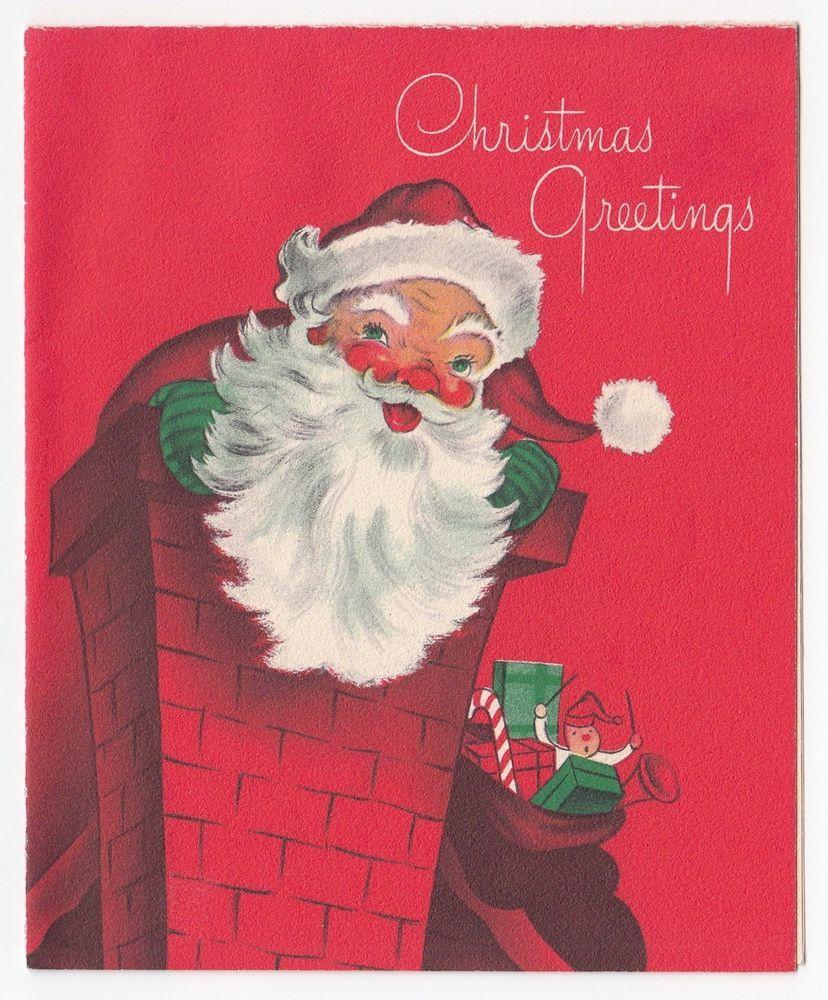Vintage Greeting Card Christmas Santa Claus Chimney Bag Of Toys