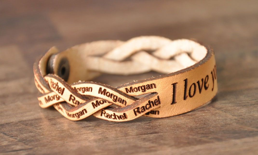 Braided Leather Bracelet With A Custom Laser Engraved Personalized