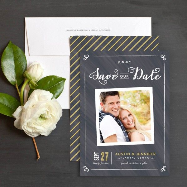 Chalkboard Snapshot Save The Date Cards by Elizabeth Victoria Designs | Elli