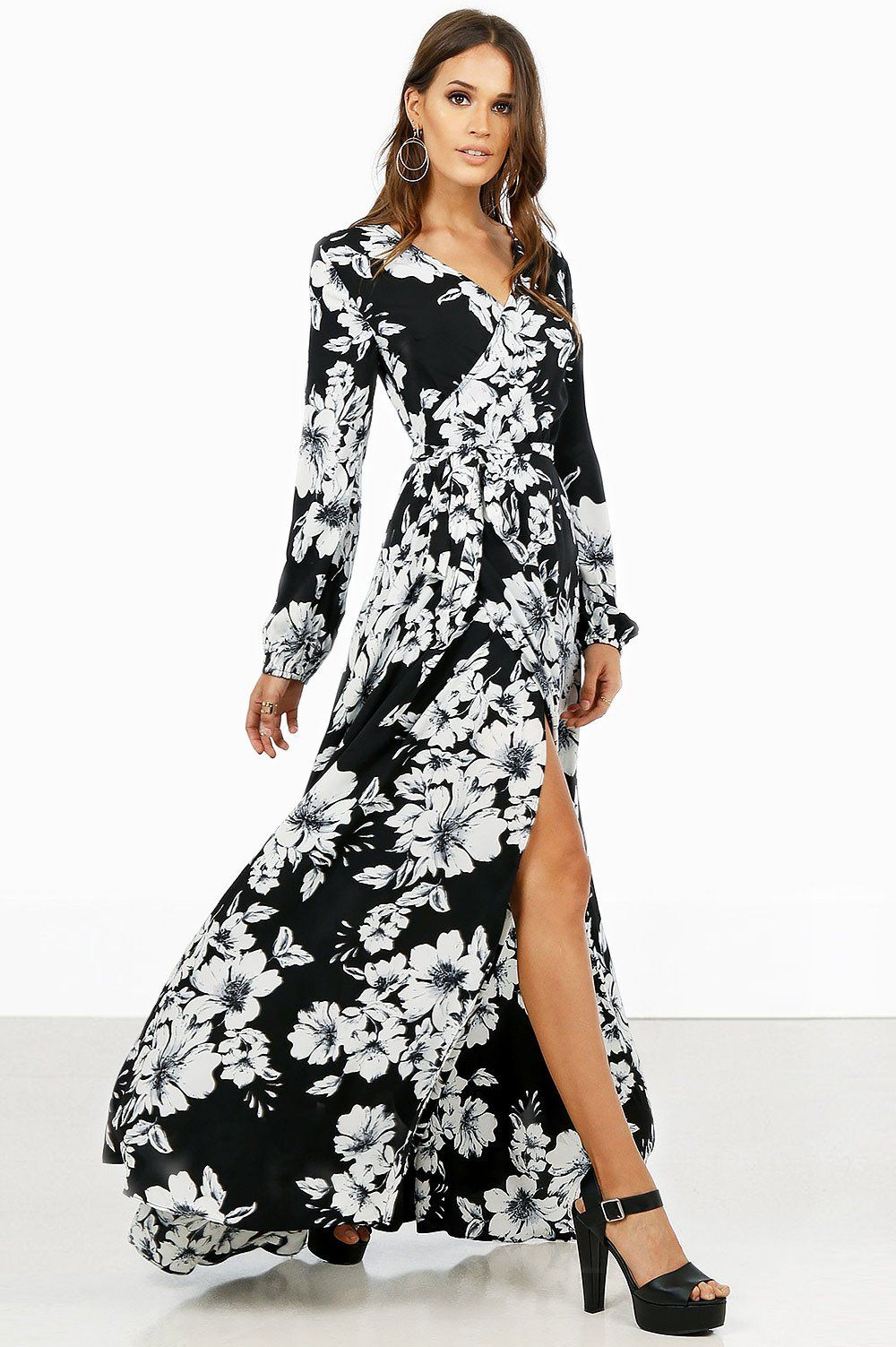 4b19be14f4b76 women's long sleeve black and white floral print wrap maxi dress. Front  view.