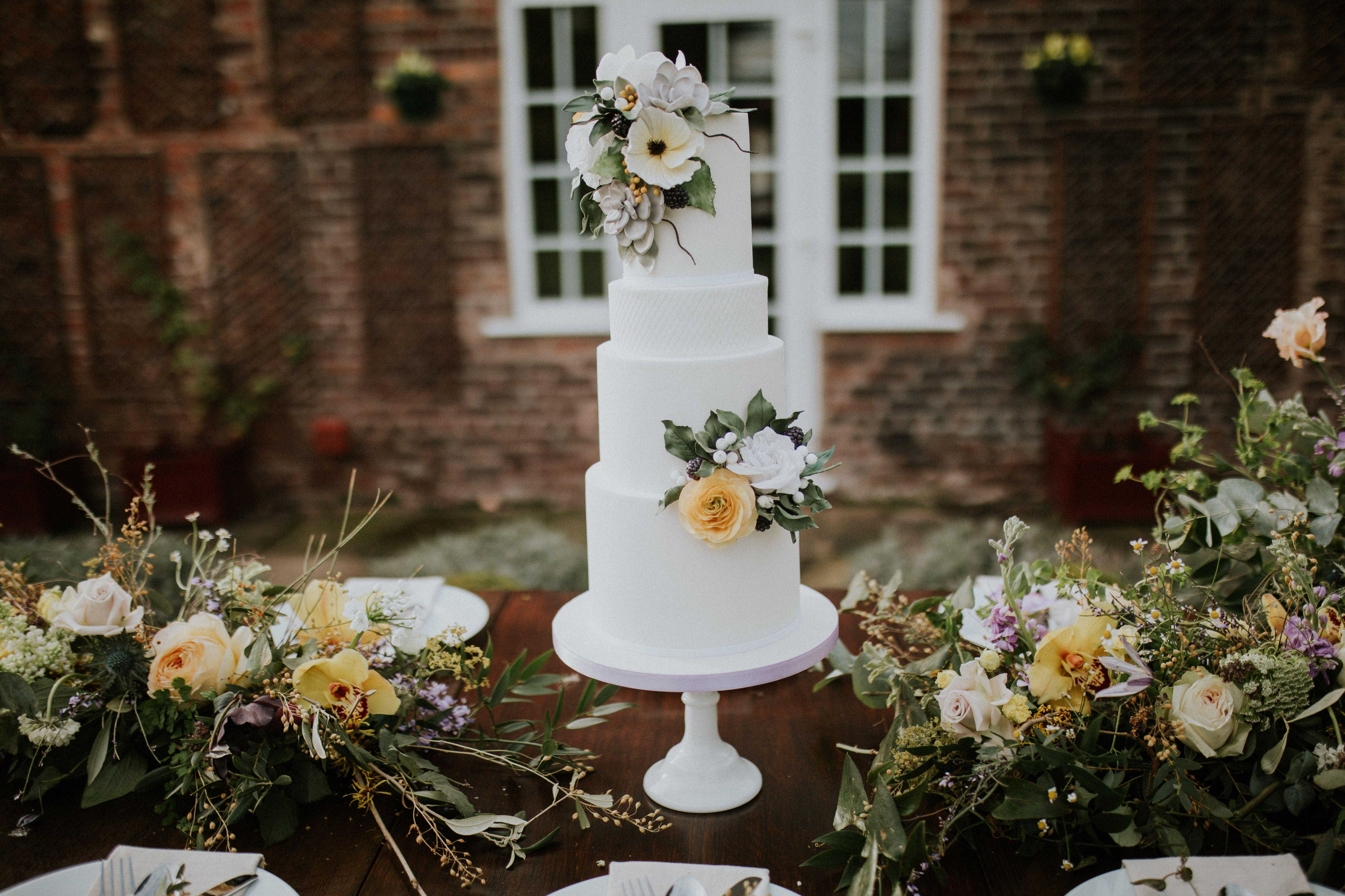 Spring wedding cake sugar flowers simple wedding cake