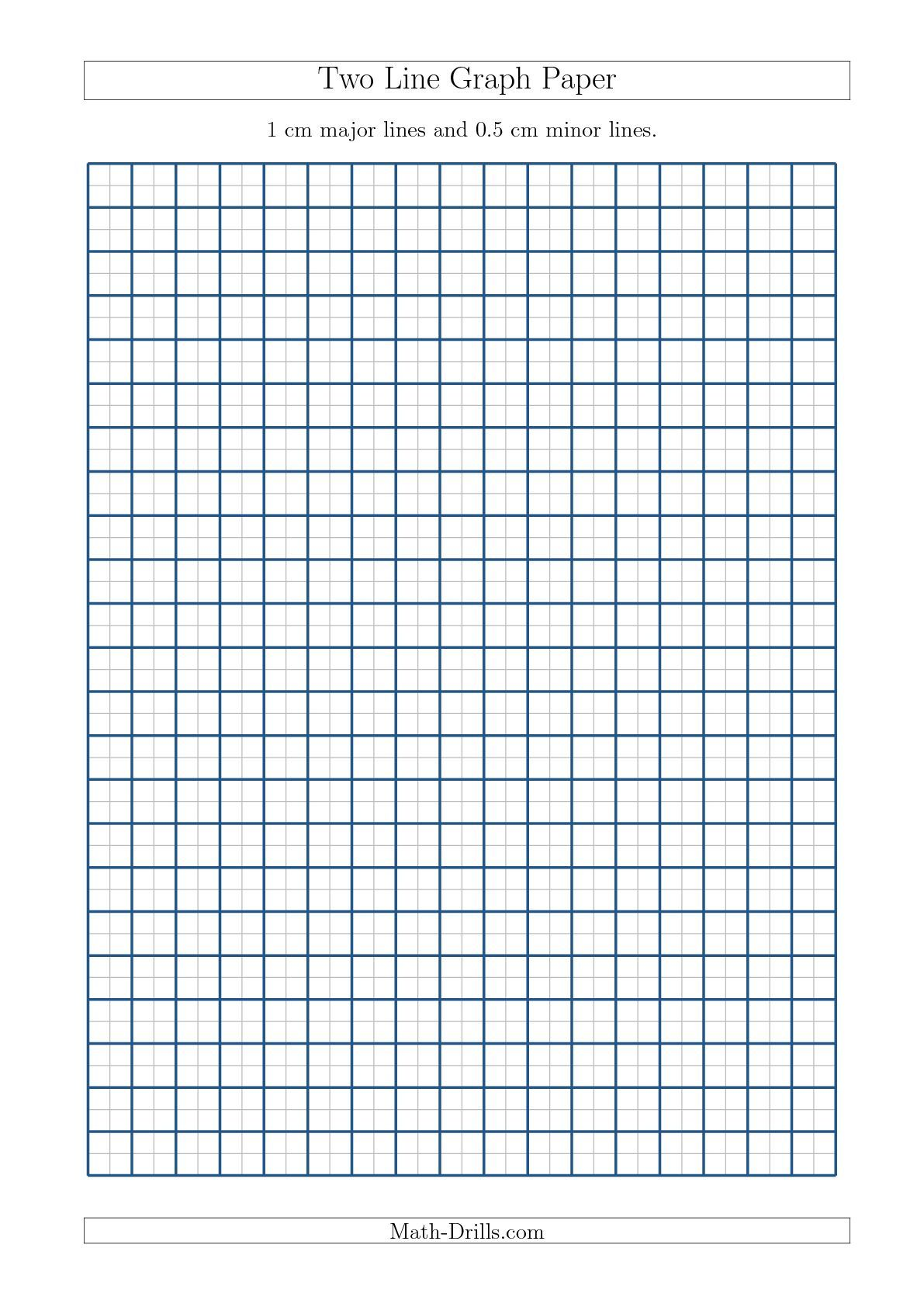 worksheet Free Printable Math Graph Paper two line graph paper with 1 cm major lines and 0 5 minor size a math worksheet