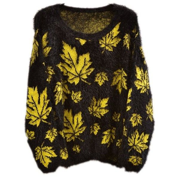 Lady's Knitted Fluffy Maple Leaf Leaves Print Neon Colour Jumper Top... ($17) ❤ liked on Polyvore featuring tops, sweaters, neon sweater, jumper top, neon tops, knitwear sweater and brown tops