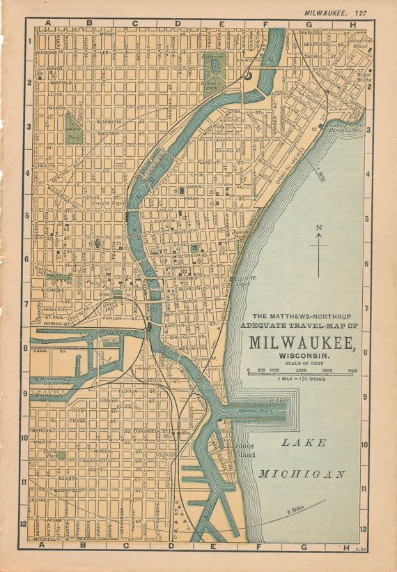 1893 Antique Map Of Milwaukee Wisconsin Milwaukee Wisconsin
