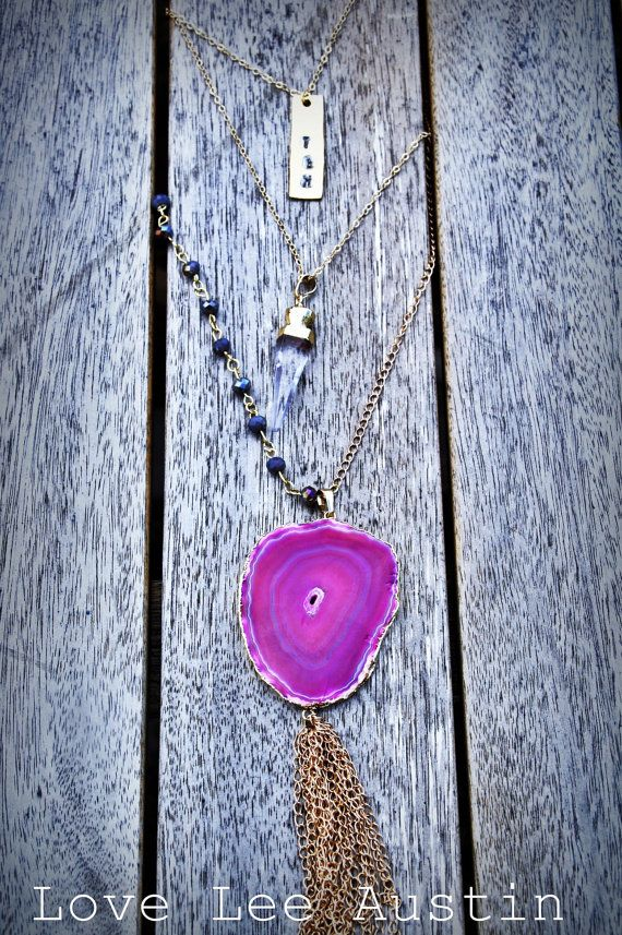 Long Gold Chain Rosary Style Necklace with Hot Pink Electroplate Agate Druzy Pendant and Gold Chain Tassel Layered bohemian necklace Love Lee Austin www.LoveLeeAustin.etsy.com wedding bridesmaid gray rosary long necklace one sided