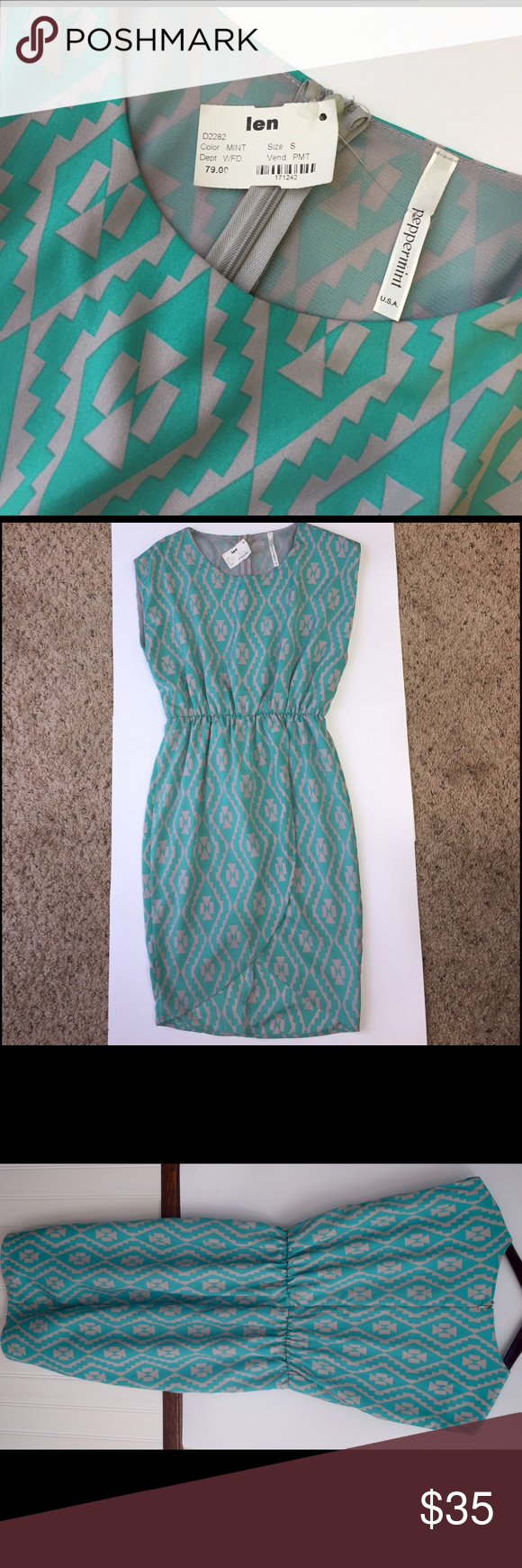 Brand New Peppermint Classy Dress Never been worn mint and grey Aztec patterned Peppermint dress bought at Len for $79. 100% polyester. Super cute and easy to dress up or wear down. Comment with any questions you may have! Peppermint Dresses Midi