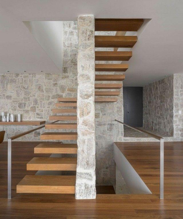 Escalier droit et escalier tournant en 100 designs superbes | Murs ...