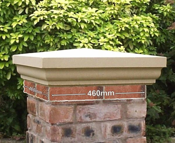 2x2 Brick Stone Fluted Pier Cap Buff Brick And Stone Concrete Column Front Yard Garden