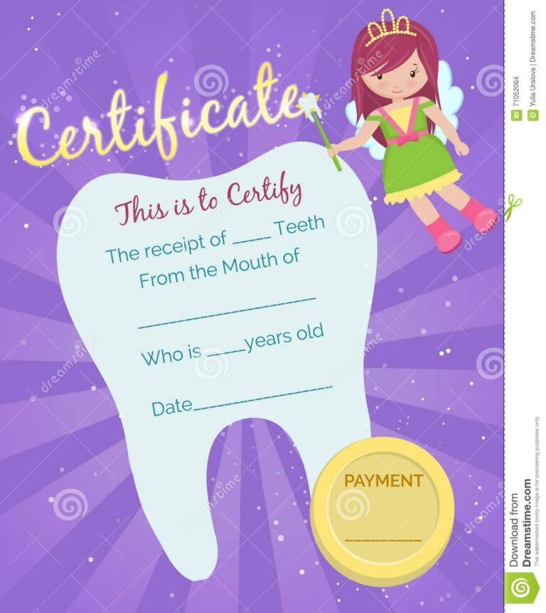 Tooth Fairy Receipt Certificate Template Stock Vector Intended For Tooth Fairy Certific Tooth Fairy Certificate Gift Certificate Template Certificate Templates