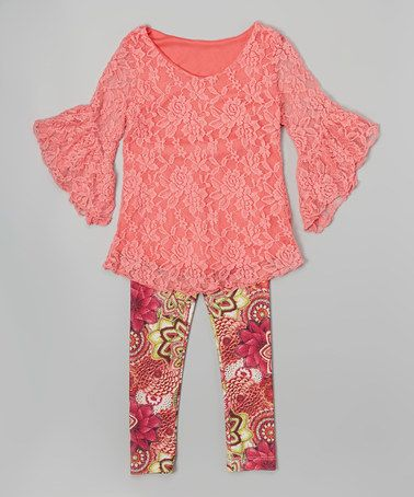 Loving this Coral Lace Bell-Sleeve Tunic & Leggings - Girls on #zulily! #zulilyfinds