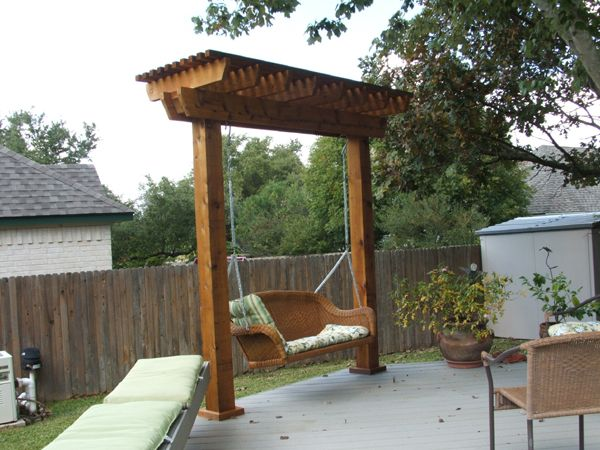 pergola swing hooked together to make a semi circle? - Easy Swinging Arbor With Swing Woodworking Plan From WOOD Magazine