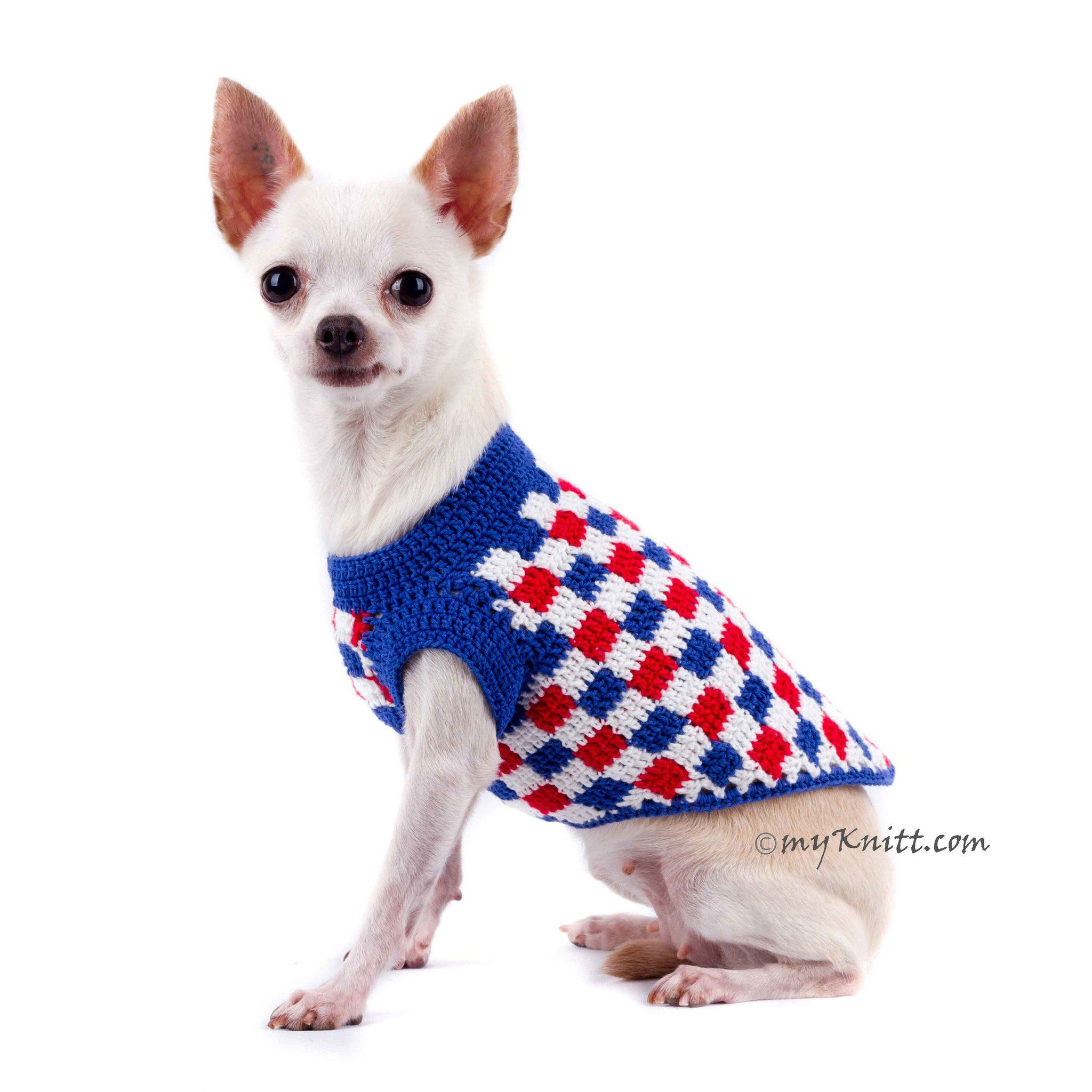 419fd396ad8e Plaid Red White Blue Dog Shirt 4th Of July Usa Handmade Crochet Dk792  Myknitt #usa