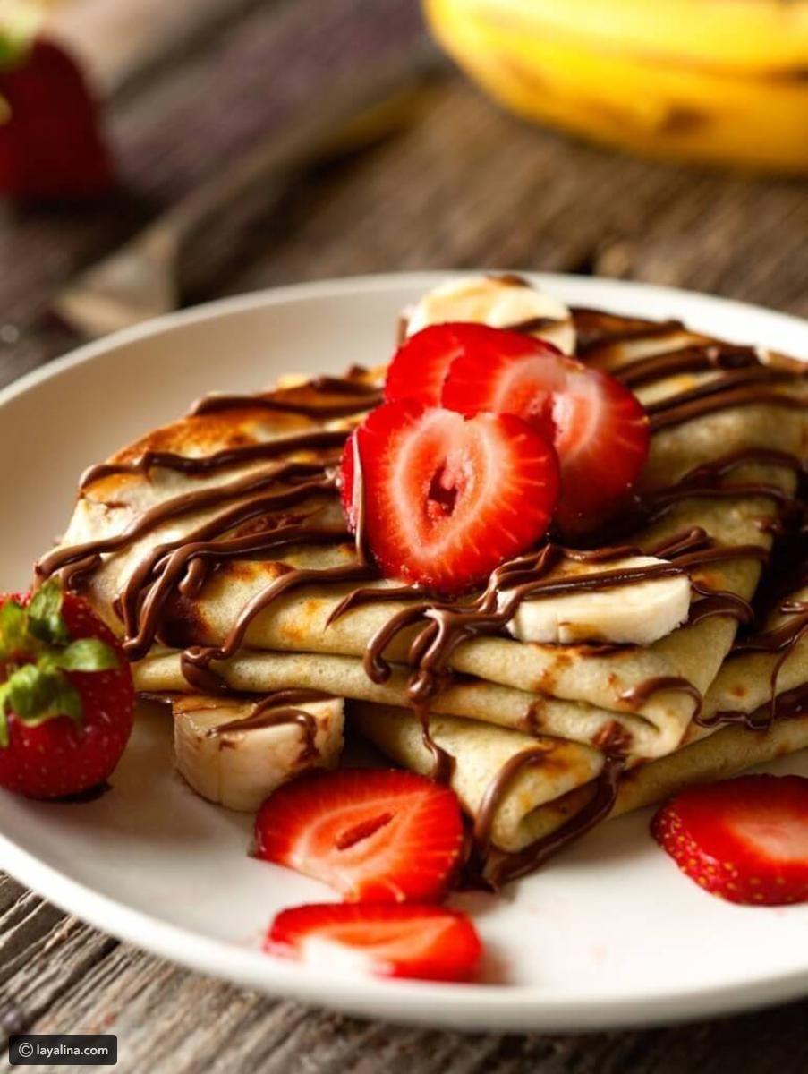 طريقة عمل كريب نوتيلا ليالينا Banana Crepes Chocolate Crepes Nutella Crepes