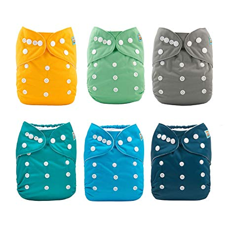 ALVABABY Baby Cloth Diapers 6 Pack with 12 Inserts Adjustable Washable and...