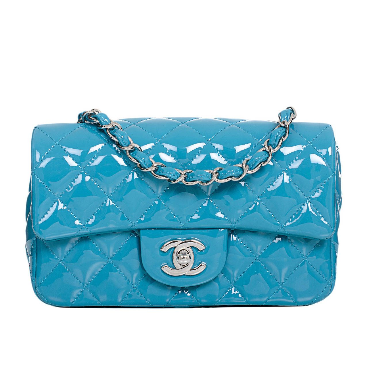 4f8920c6e7f7 Chanel Turquoise Quilted Patent Small Classic 2.55 Flap Bag