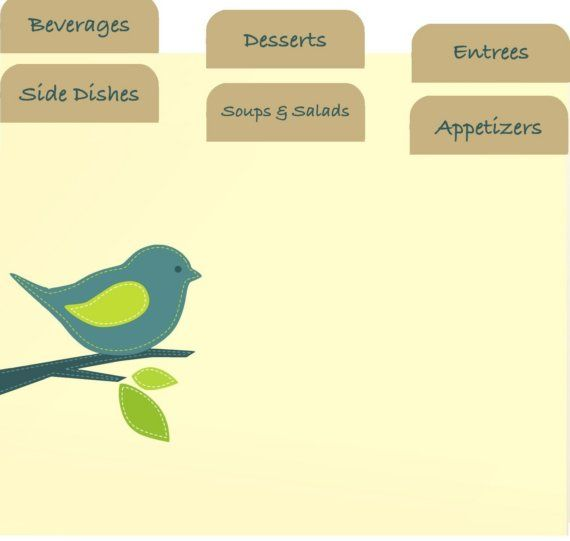 Printable RECiPE Cards and Divider Tab Little Blue Bird Kitchen Set