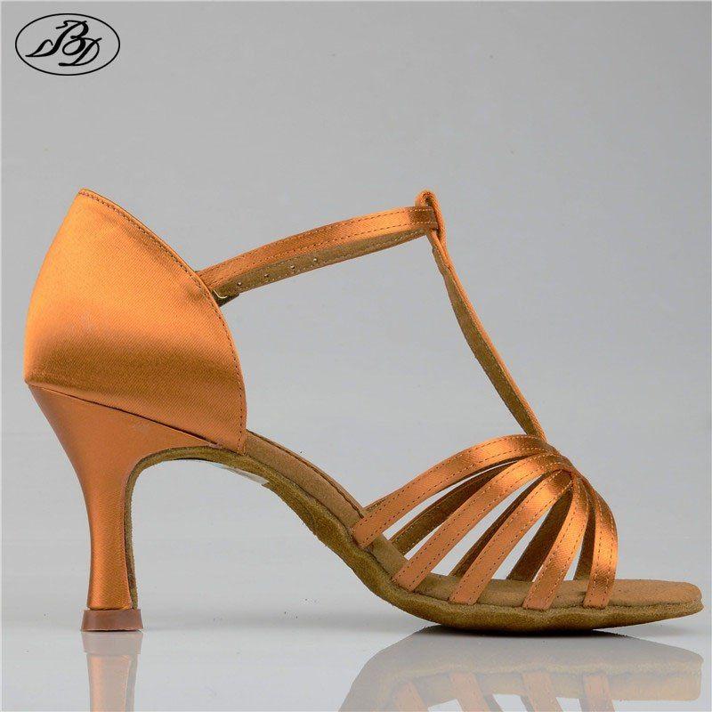 256d8ee7f7 Women Latin Dance Shoes BD 217 Dark Tan Satin High Heel Ladies ...