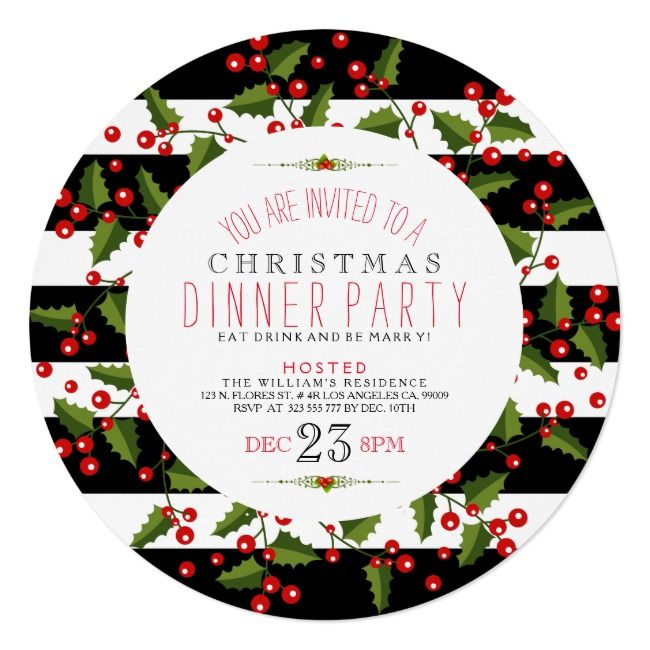 Christmas Wreath & Stripes Diner Invite |  Christmas Wreath & Stripes Diner Invite ,