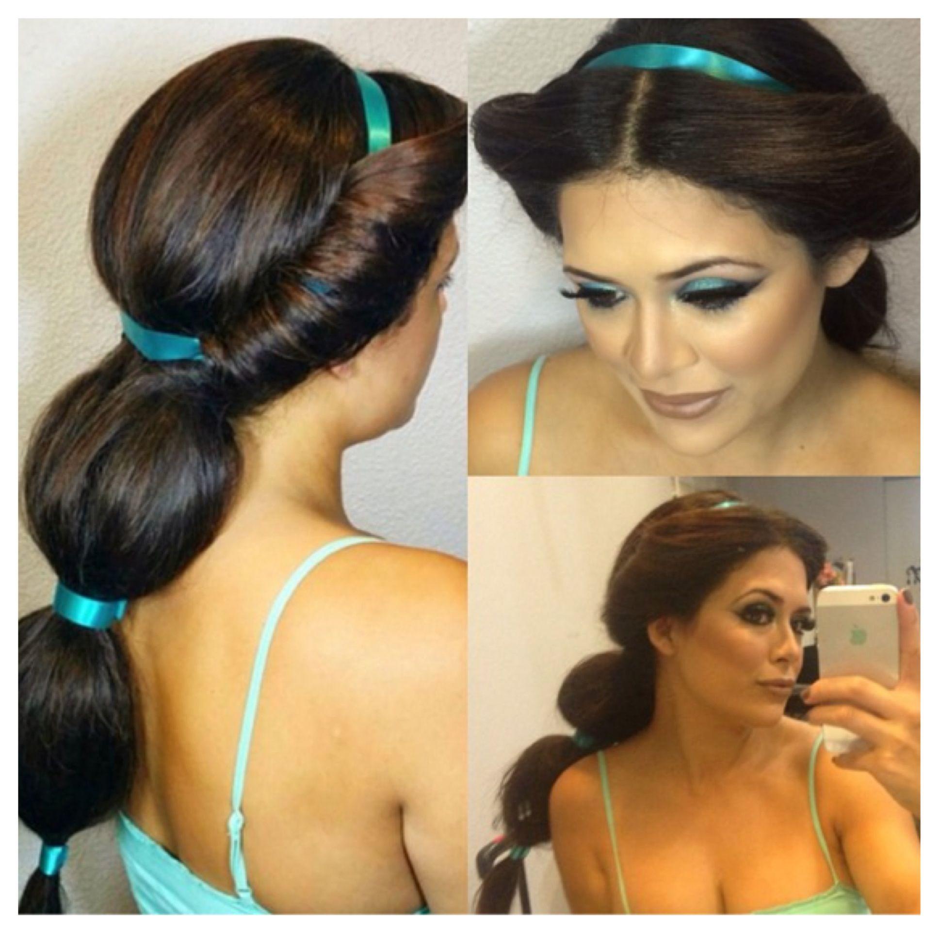 Princess Jasmine Hair By Allie Makeup By Chelsea Pagnini Princess Jasmine Disney Disney Hairstyles Princess Jasmine Hair Jasmine Hair