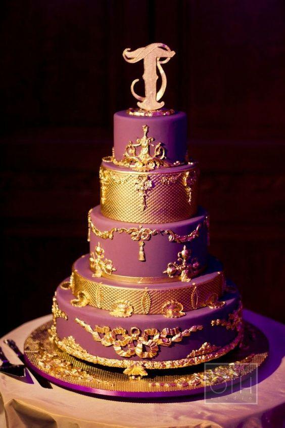 AAAAAAAAAHHH Stunning purple and gold wedding cake designed by baker ...