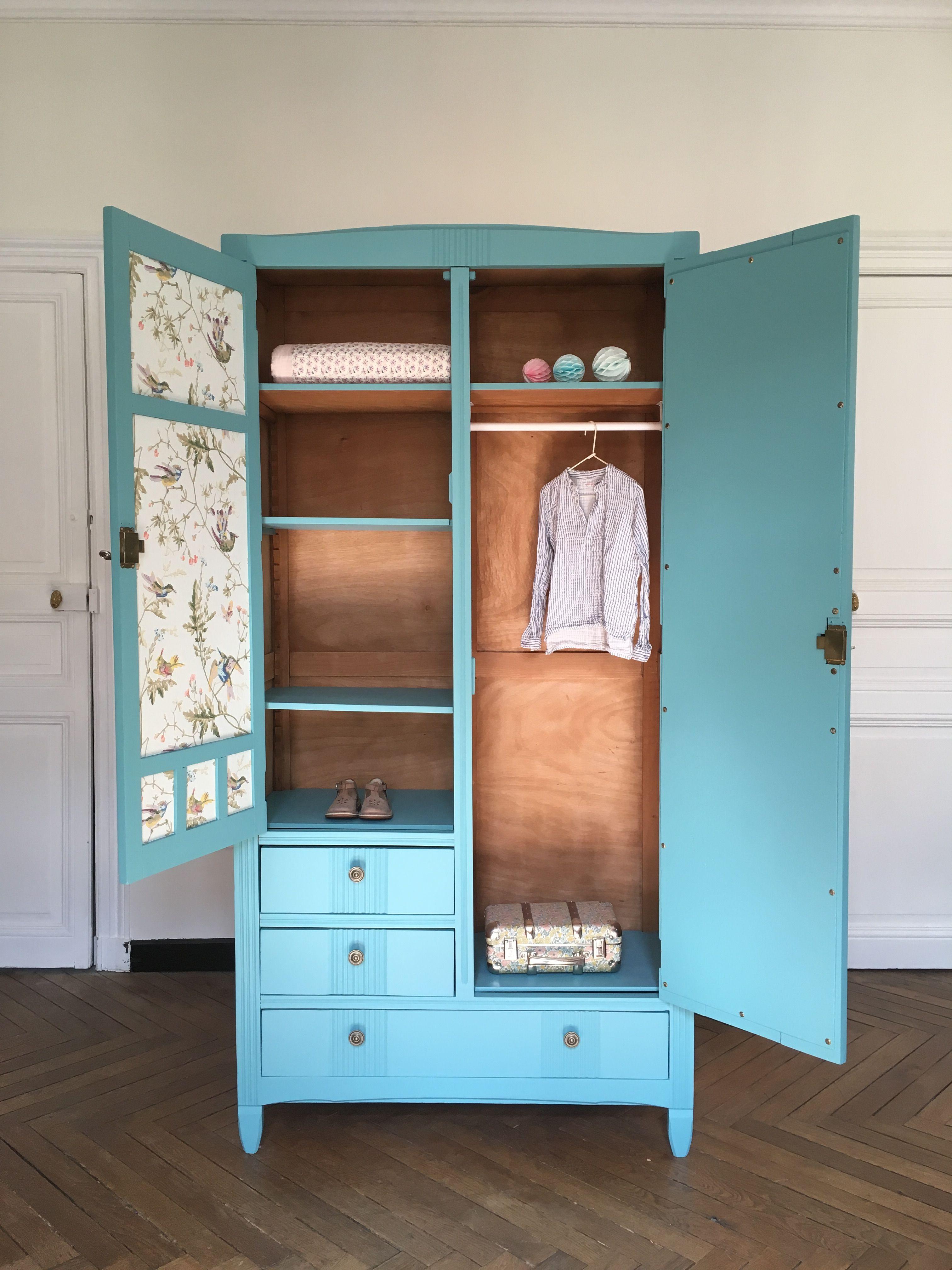 armoire parisienne bleue penderie tag res et tiroirs. Black Bedroom Furniture Sets. Home Design Ideas