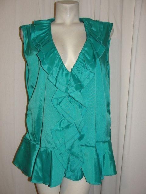 Ashley Stewart Plus Size 22W Green Stretch Polyester Ruffle Vneck Sleeveless Top #AshleyStewart #Blouse #EveningOccasion