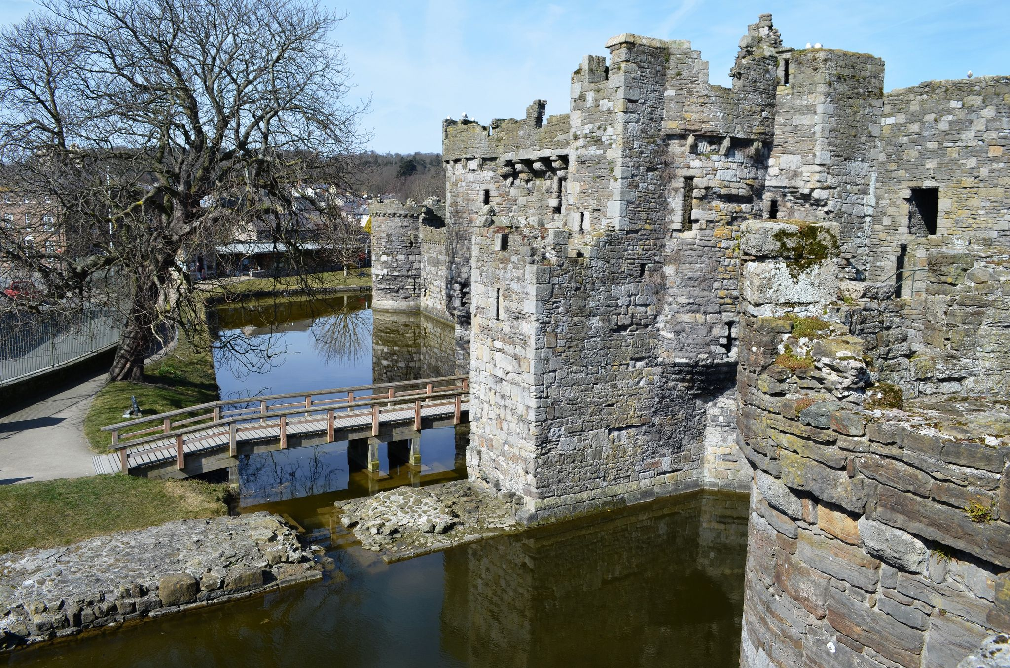 Beaumaris Castle, Anglesey  Part of Edward I's campaign to subjucate the Welsh, Beaumaris was constructed between 1295 and 1330, but not actually completed. UNESCO World Hertiage site.